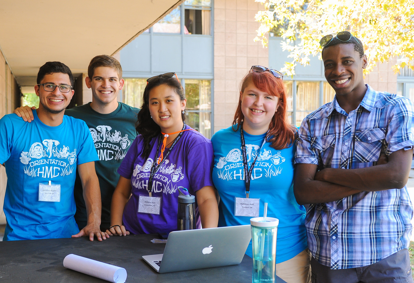 Photograph of five Harvey Mudd College Orientation leaders